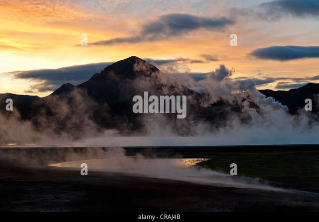 Rising steam, energy generation, geothermal energy, near Lake Myvatn, northern Iceland, Europe - Stock Image