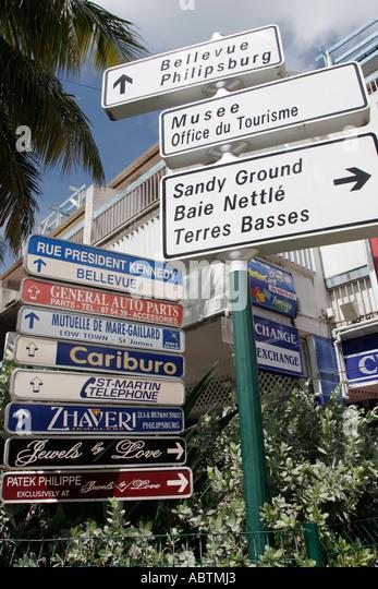 Saint Martin Marigot French Rue de President Kennedy directional signs - Stock Image