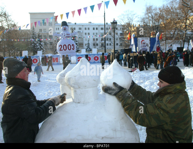 5th Snow Sculpture championship - Stock Image