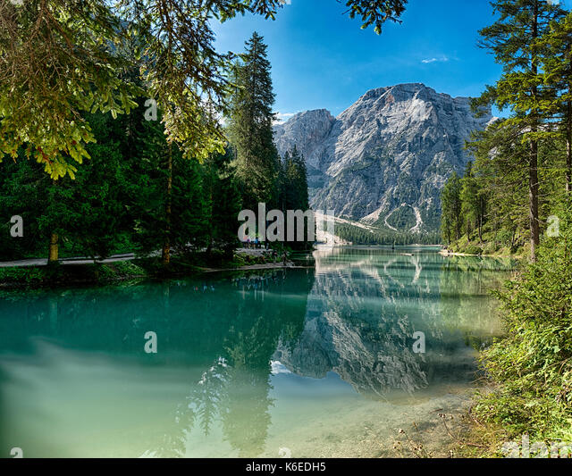 Landscape of Lake of Bries and Mount Croda del Becco in the background with blue sky at the horizon, Dolomites  - Stock Image