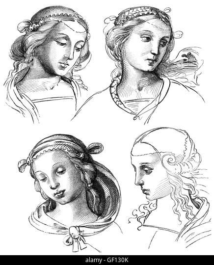 Sketches of the Italian painter and architect Raphael, Raffael da Urbino - Stock-Bilder