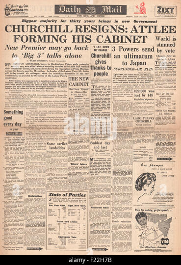 1945 Daily Mail front page reporting Clement Attlee and Labour Party Win General Election and Winston Churchill - Stock Image