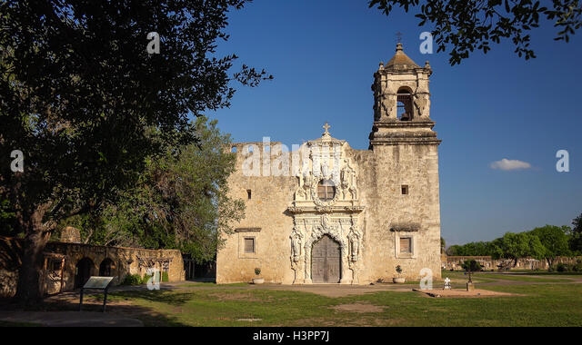 Entrance to the old Spanish Mission San Jose in San Antonio, Texas - Stock Image