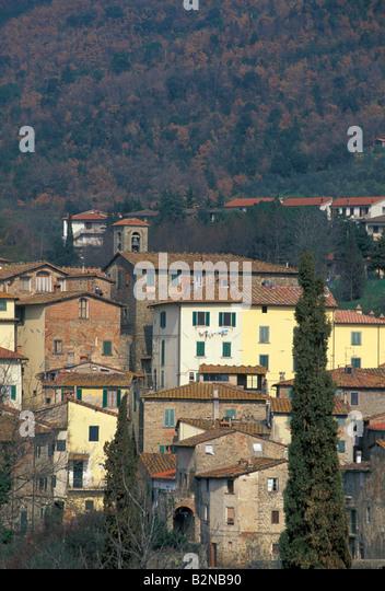 village partial view, loro ciuffenna, italy - Stock Image