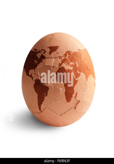 Egg shape world hatching - Stock Image