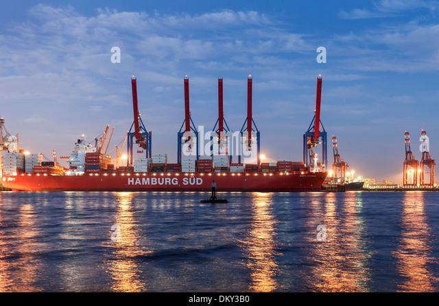 Elbe Beach at full moon, Altona, port of Hamburg, Hamburg, Germany - Stock Image