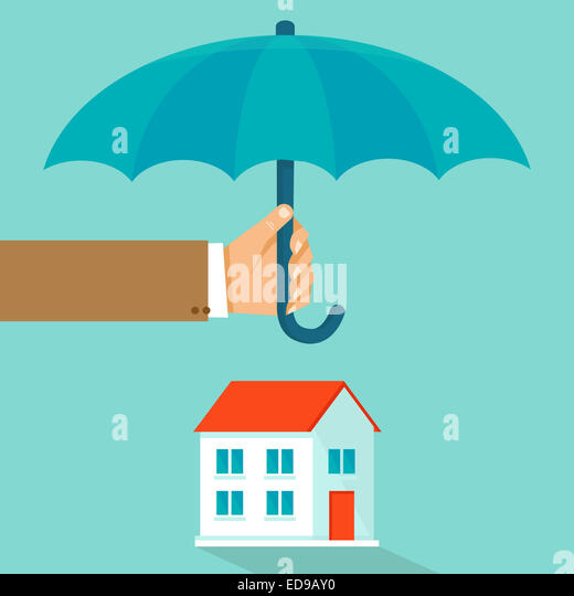 House insurance concept in flat style - infographic design elements and icons - agent's hand holding umbrella - Stock-Bilder