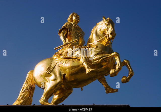 Dresden golden equestian of August der Starke sculpture - Stock Image