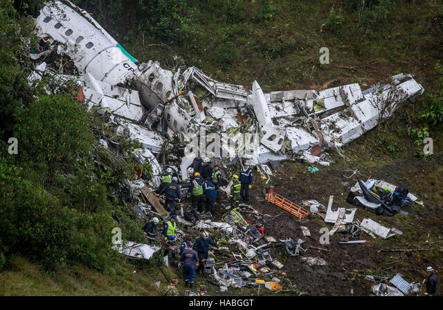 Medellín, Colombia. 29th Nov, 2016. PLANE CHAPECOENSE FALLS IN COLOMBIA - Wreckage of the plane carrying the - Stock Image