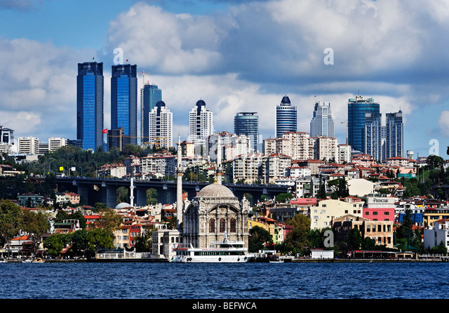 Istanbul skyline viewed from the Bosphorus - Stock Image