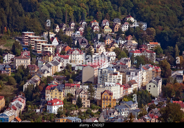 top view of Karlovy Vary in the Czech Republic - Stock-Bilder