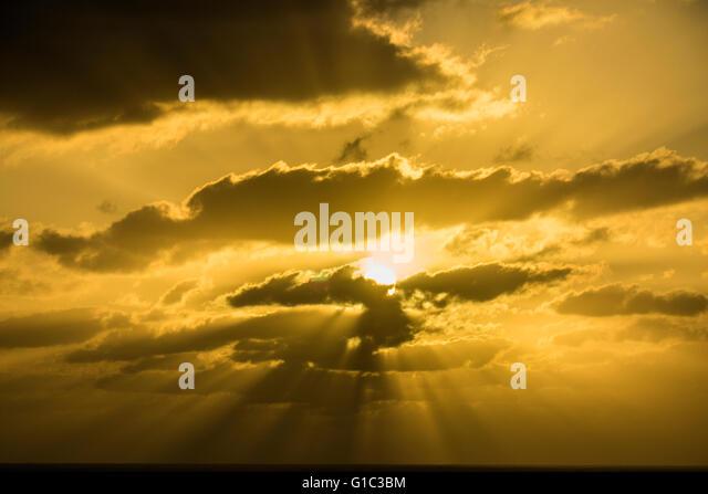 Sunset over the Atlantic Ocean, Lanzarote, Canary Islands, Spain - Stock-Bilder