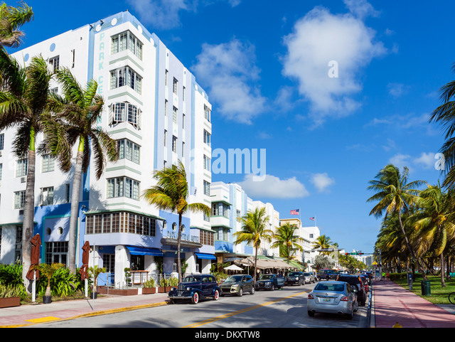 Ocean Drive with Park Central Hotel to the left, South Beach, Miami Beach, Florida, USA - Stock Image
