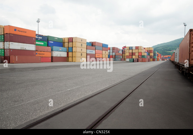 Cargo containers in yard - Stock Image