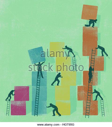 Business people cooperating to build ascending bar chart using building blocks - Stock-Bilder