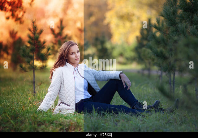 Photo before and after the image editing process. Young woman - Stock Image