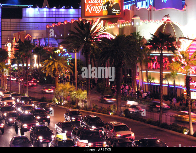 Las Vegas strip auto car traffic at night congestion nonstop traffic headlights above aerial - Stock Image