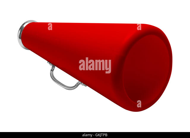 Red Cheer Megaphone Cut Out and Isolated on White Background. - Stock Image