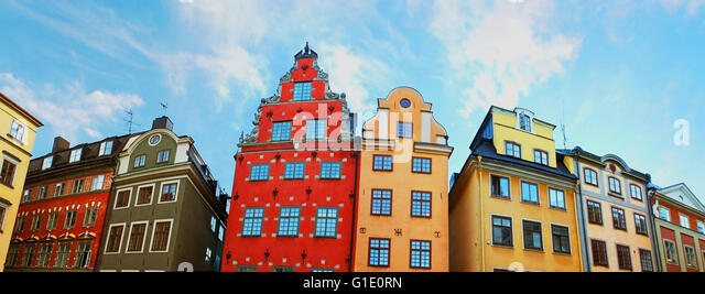 Red and Yellow iconic buildings on Stortorget, a small public square in Gamla Stan, the old town in central Stockholm, - Stock Image