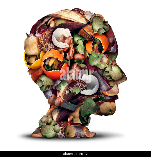 Compost thinking and composting concept as a pile of rotting kitchen fruits egg shells and vegetable food scraps - Stock Image