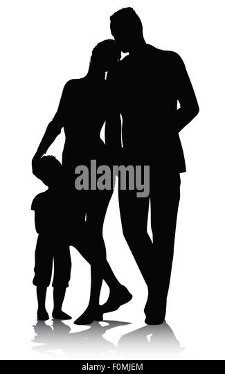 Family silhouette walking - Stock Image