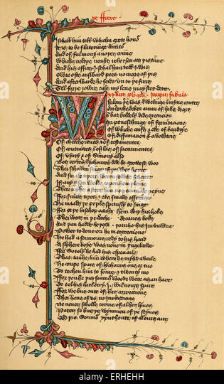 Geoffrey Chaucer 's Canterbury Tales - manuscript page Lansdowne manuscript -English writer 1342-1400 - Stock Image