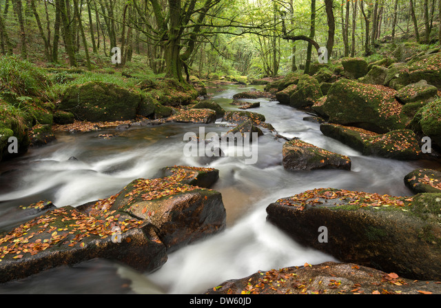 River Fowey tumbling through rocks at Golitha Falls, Cornwall, England. Autumn (September) 2013. - Stock Image