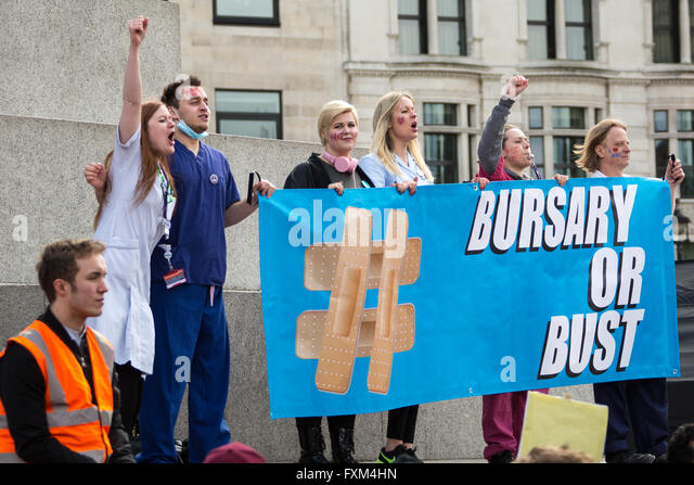 London, UK. 16 Apr, 2016. 'Bursary or bust' student nurses  join the rally in Trafalgar Square as thousands - Stock Image