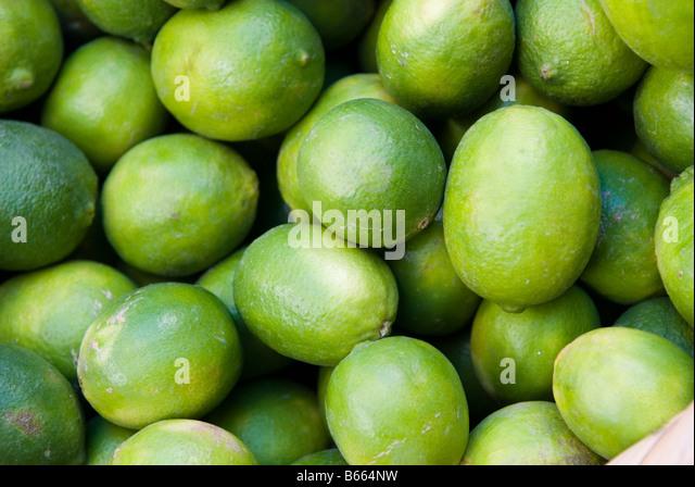 Fresh green lemon in market in Lebanon Middle East - Stock Image