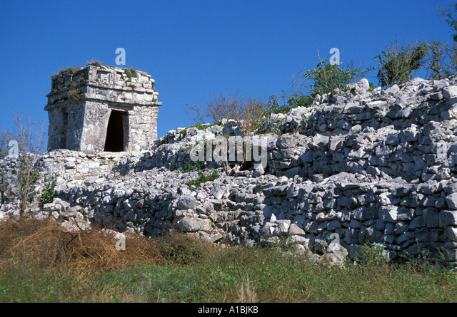 Tulum Maya Ruins walled stone city - Stock Image