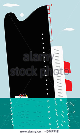 People in rowboat escaping sinking ship - Stock Image