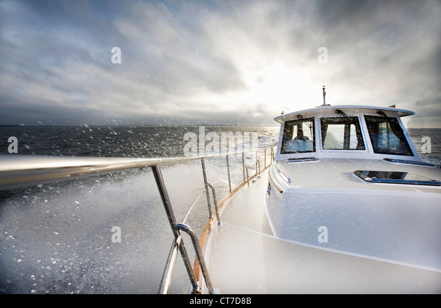 Power boat and ocean spray - Stock Image