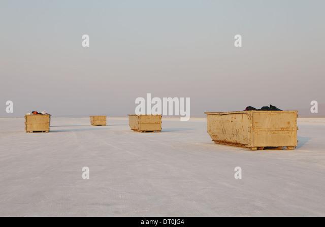 Bonneville Salt Flats Utah USA yellow garbage containers Bonneville Salt Flat - Stock Image