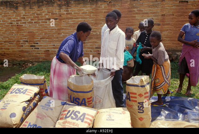 Foreign aid for People in Ruanda Africa - Stock Image