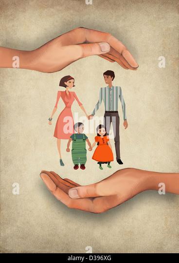 Illustrative image of human hands shielding family representing insurance - Stock-Bilder
