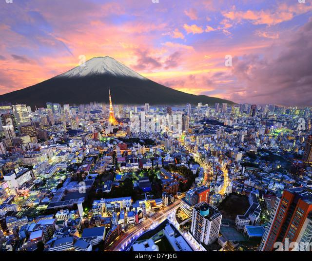 Hd Japan Movie8 Bath Com: Tokyo Skyline Mount Fuji Stock Photos & Tokyo Skyline