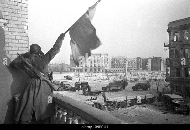 The Victory flag hoisted after the Battle of Stalingrad World War Two 1943 - Stock Image