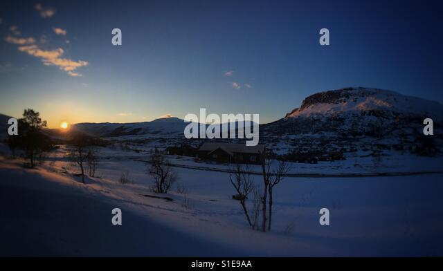 Sysendalen at sunset, Western Norway. - Stock Image