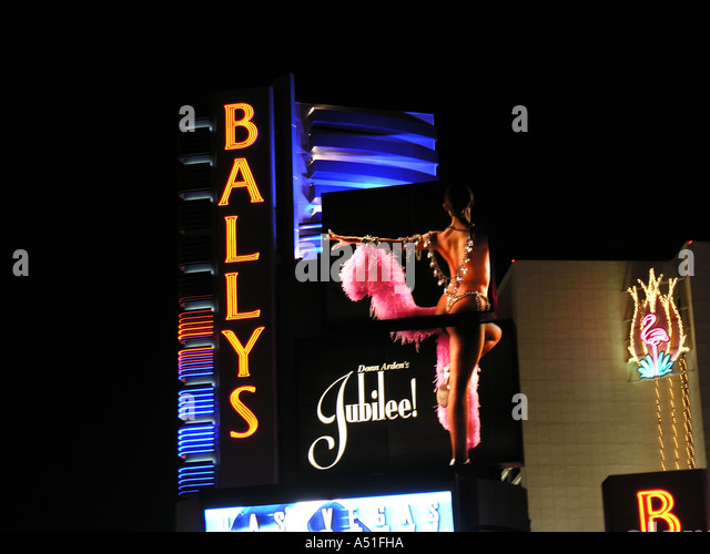 Ballys hotel casino Las Vegas strip night neon lights building architecture travel tourism gambling gaming vacations - Stock Image