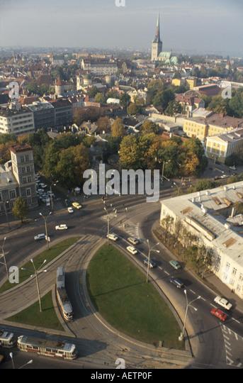 Estonia Tallin aerial city skyline public bus - Stock Image