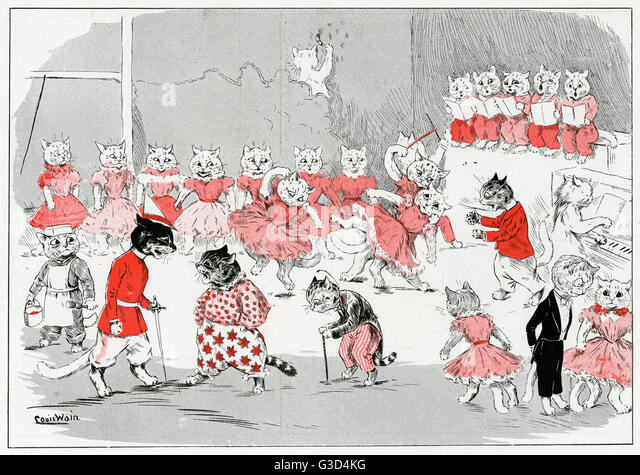 Cats dressed as humans rehearsing a pantomime.  1898 - Stock Image