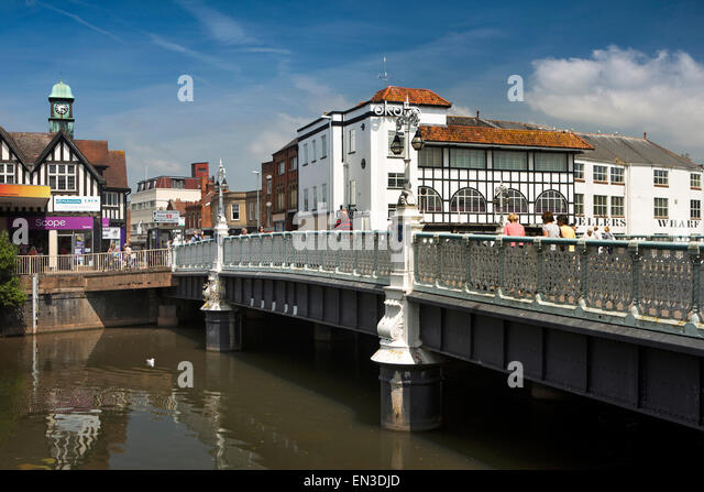 UK, England, Somerset, Taunton, North Street, 1834 bridge over River Tone - Stock Image