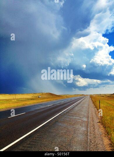 Highway during a storm in Northern Colorado - Stock Image