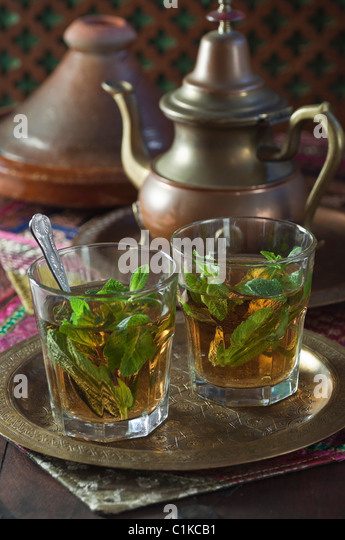 Mint tea North Africa.Thé à la menthe - Stock Image