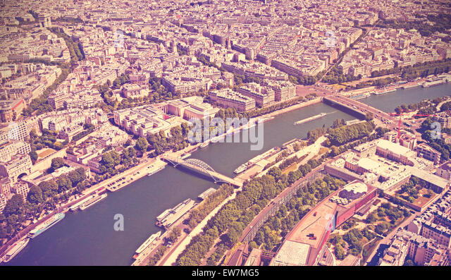 Retro toned panoramic view of Paris, France. - Stock Image