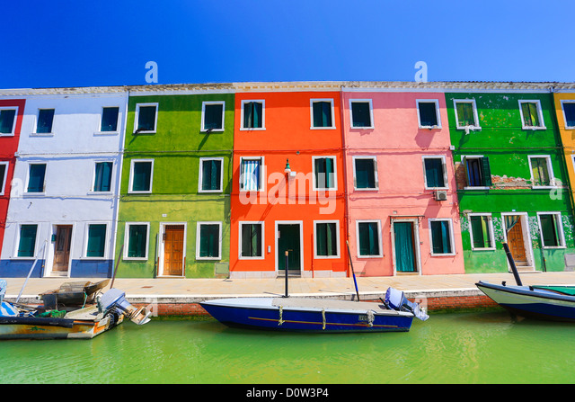 Italy, Europe, travel, Venice, Burano  architecture, boats, canal, colourful, colours, tourism, houses - Stock-Bilder