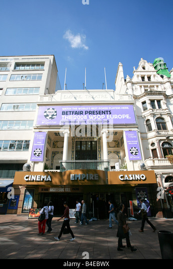 The Empire Cinema and Casino in Leicester Square entertainment theatre district area West End London England UK - Stock Image