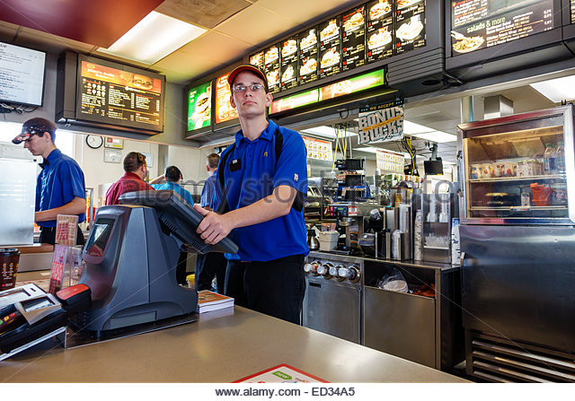 Fast food restaurant counter stock photos