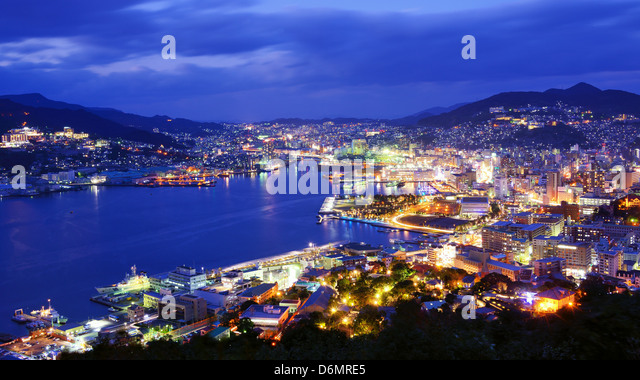 Skyline of the bay of Nagasaki, Japan. - Stock-Bilder