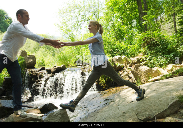 Couple hiking - Stock Image